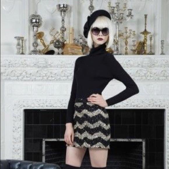 c3d9ec3887a1 Alice + Olivia Leigh Chevron Sequin Mini Skirt